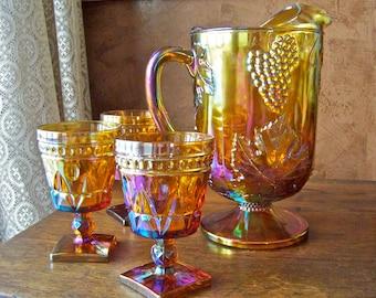 Vintage Gold Carnival Glass Pitcher Goblets Fall Harvest Thanksgiving Gold Pitcher Glasses Grape Cluster Indiana Glass Vintage 1970s