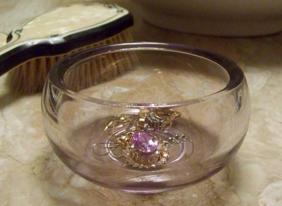 Vintage Purple Glass Trinket Bowl