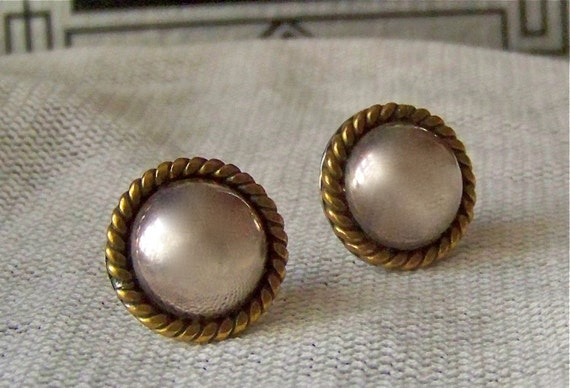 Vintage Sterling Silver 925 Dome Earrings Signed Silver Button Earrings Mexico