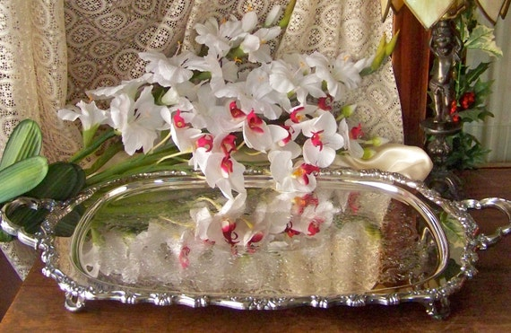 Vintage Silver Plated Footed Serving Tray RESERVED SHAN