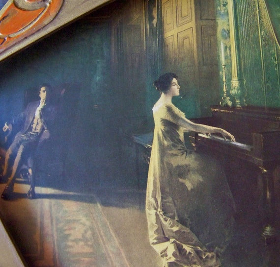 Antique Lithograph Woman Playing Piano 1906 Signed