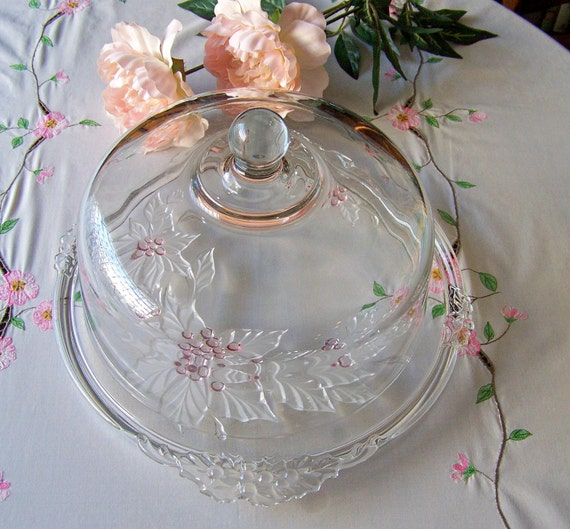 Vintage Holly Sprig Cake Plate With Glass Dome Lid