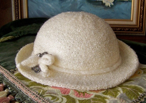 Vintage White Hat 1920s Rhinestone Pin