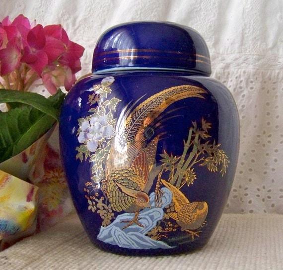 Vintage Ginger Jar Cobalt Blue