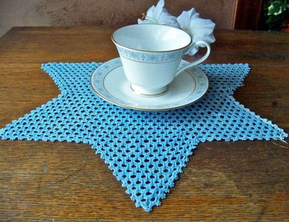 Vintage Crocheted Doily Blue Star Grandma's Doily Vintage 1930s