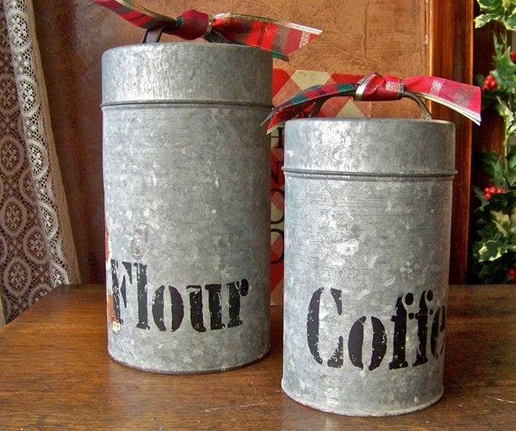 Tin Canisters Flour and Coffee