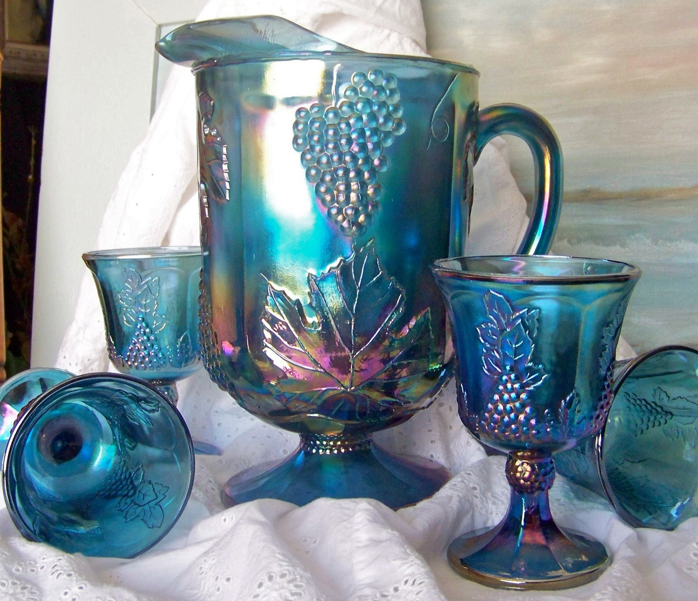 Vintage Pitcher Goblets Blue Carnival Glass Iridescent Pitcher
