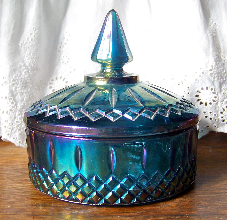 Vintage Blue Carnival Glass 104