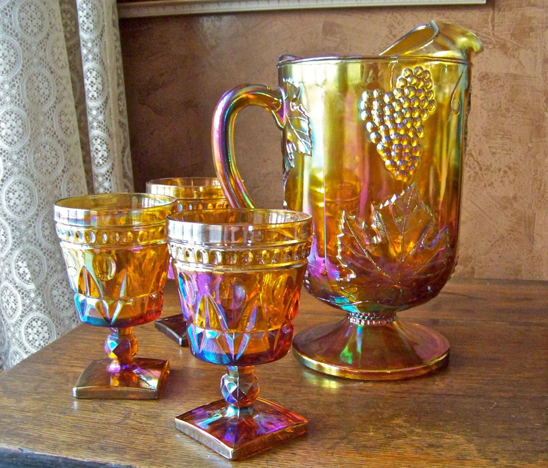 Vintage Gold Carnival Glass Pitcher Goblets Fall Harvest