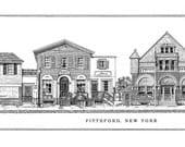 Pittsford, New York, Main Street, ink drawing print