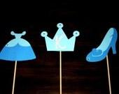 CINDERELLA- 3 Table Centerpieces- Cinderella Dress, Cinderella Slipper, Tiara with Initial- Crown