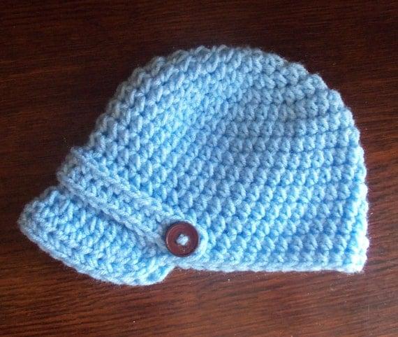 Crochet Light Blue Newsboy Visor Beanie, 6 to 12 months, Ready to Ship