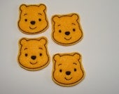 HONEY BEAR ~ 4 Machine Embroidered Embellishments / Appliques -  Ready To Ship