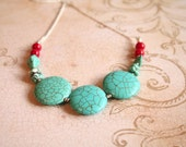 Turquoise Dyed Howlite and Red Coral with Silver Toned Chain