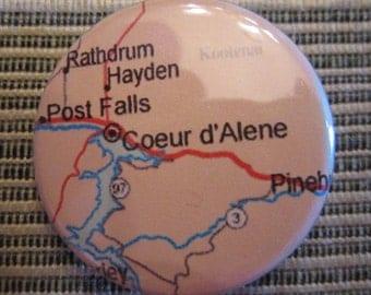 Coeur d'Alene, ID Map 1.25 inch Pinback Button