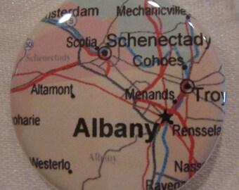 Albany, NY Map 1.25 inch Pinback Button