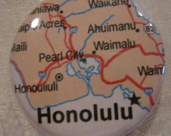 Honolulu, HI Map 1.25 inch Pinback Button