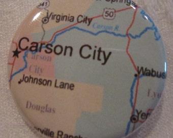 Carson City, NV Map 1.25 inch Pinback Button