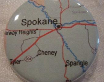 Spokane, WA Map 1.25 inch Pinback Button