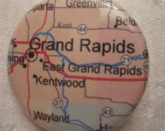 Grand Rapids, MI Map 1.25 inch Pinback Button