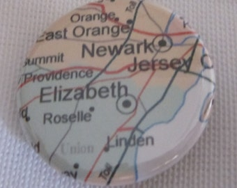 Elizabeth, NJ Map 1.25 inch Pinback Button