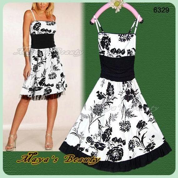 Black dress white flowers