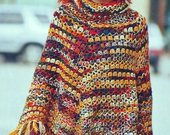 Crochet for  Girls and Woman New cool Poncho with Hat Pattern INSTRUCTION only, PDF Files