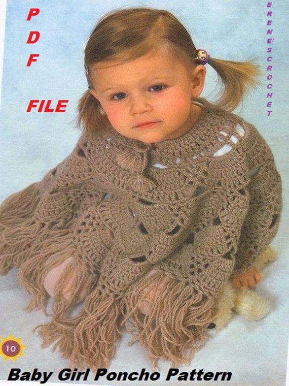 Crochet for  Girls 3- 4 years old ,New cool Poncho, Wrap Pattern INSTRUCTION only, PDF Files