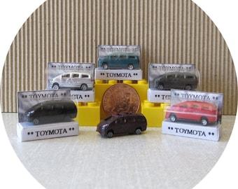 Dolls house miniature, Toymota, tiny toy car in a box.