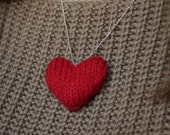 Tiny knitted red heart necklace