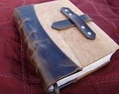 Handmade Leather Travel Journal with Birdseye Maple Panels