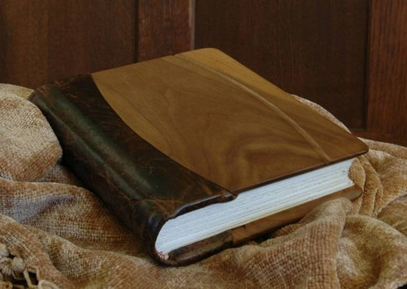 Leather journal with walnut panels and silk headband