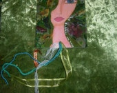 The Goddess in You- Mixed media handmade laminated bookmarks with ribbons