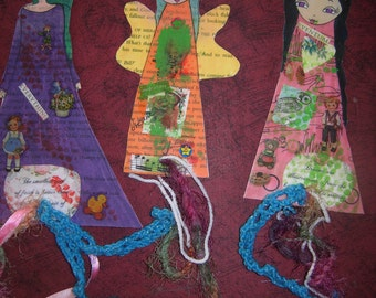 Paper Dolls Laminated Bookmarks with ribbons no2-(set of 3)