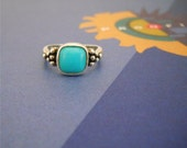 Sterling Silver Ring / Bezel Set Turquoise - Size 9