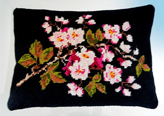 Flowers & Leaves Needlepoint Pillow