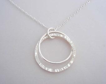Fine Silver Double Hoop Necklace