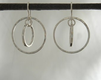 Small Fine Silver Double Hoops