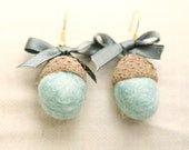 Custom color felted acorn earrings