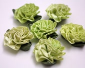 Large Fabric Flowers - 10 Pieces - Assorted Light Greens