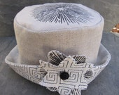 Linen Patchwork Hat with Fabric Flower