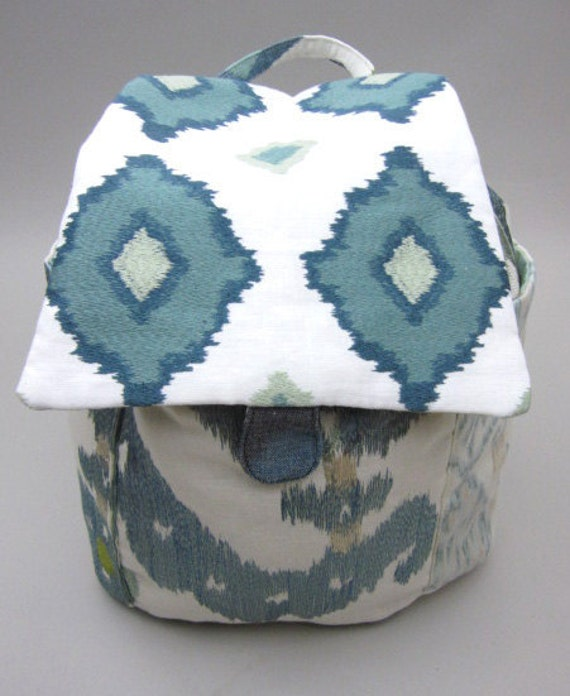 Blue Embroidered Linen and Cotton Backpack
