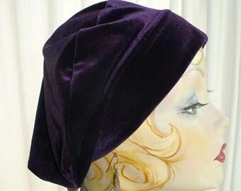 Royal Purple Velvet  Beret