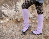 Upcycled Lavender knit Knee High flared Leg Warmers