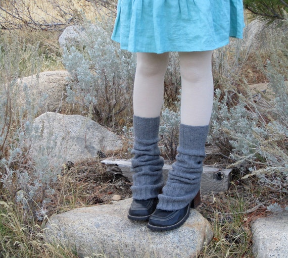 upcycled Charcoal Gray KNIT sweater LEG WARMERS