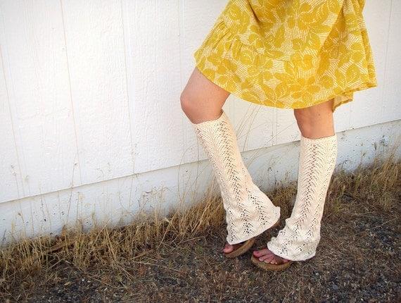 ooak Cream LACE flared LEG WARMERS