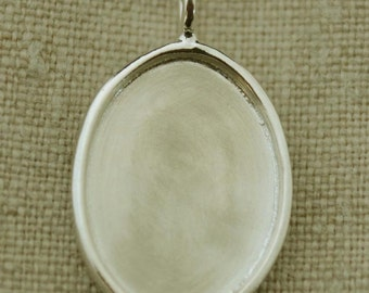 Sterling Silver Rimmed Oval