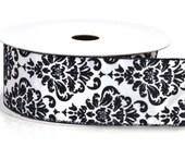 25 yds 2 1/2 inch Wire Edge Black White Damask Flocked Satin Ribbon Wedding Chair Sashes