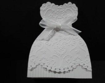 10 Bridal Gown Bride Dress Wedding Favor Boxes - Bridal Shower Favor Boxes