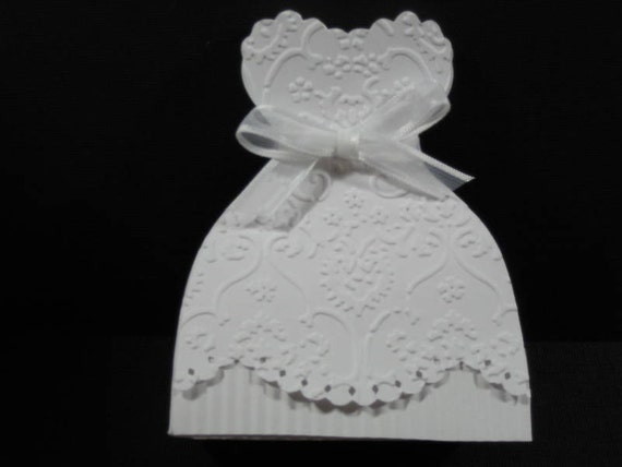 10 bridal gown bride dress wedding favor boxes bridal shower for Wedding dress in a box